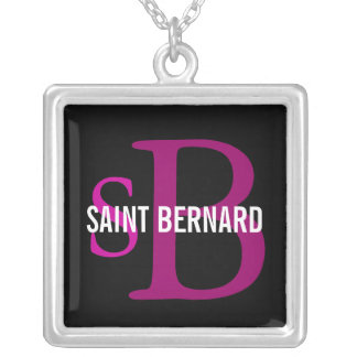 Saint Bernard Breed Monogram Silver Plated Necklace