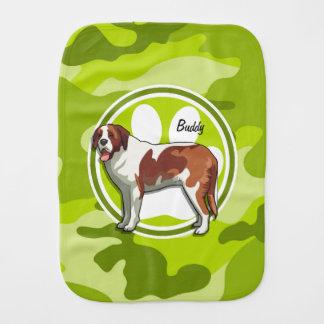Saint Bernard; bright green camo, camouflage Burp Cloth