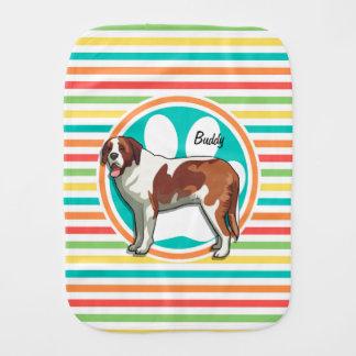 Saint Bernard; Bright Rainbow Stripes Burp Cloths