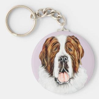 Saint Bernard Bust Basic Round Button Keychain