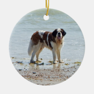 Saint Bernard dog at beach hanging ornament