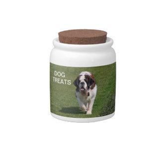 Saint Bernard dog beautiful photo dog treats jar Candy Jars
