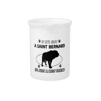 Saint Bernard dog breed designs Beverage Pitcher