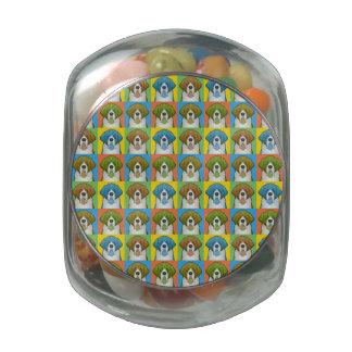 Saint Bernard Dog Cartoon Pop-Art Glass Candy Jar