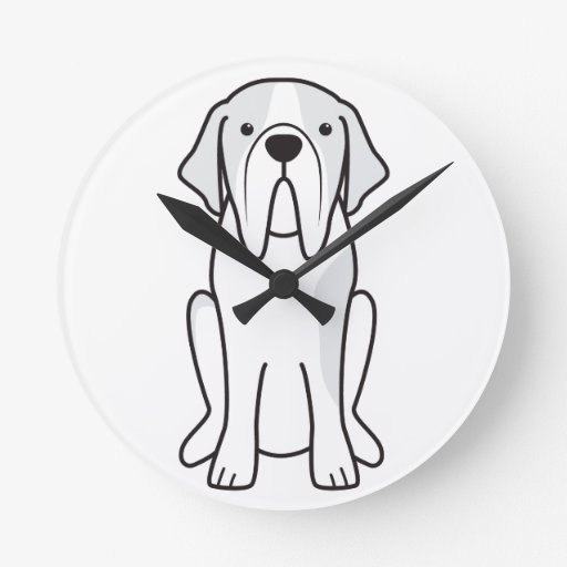 Saint Bernard Dog Cartoon Round Clock