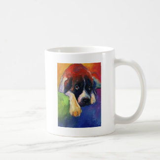 Saint Bernard Dog gift art painting printed Classic White Coffee Mug