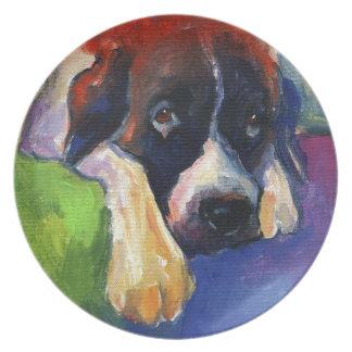 Saint Bernard Dog gift items art painting Melamine Plate