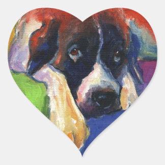 Saint Bernard Dog gift items art painting Heart Sticker