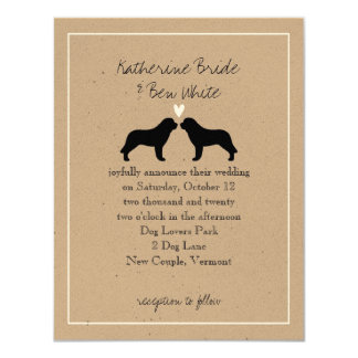 Saint Bernard Dog Silhouettes Wedding Invitation