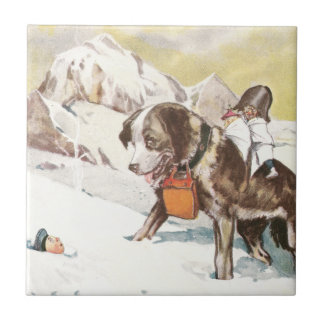 Saint Bernard Dog to the Rescue Small Square Tile