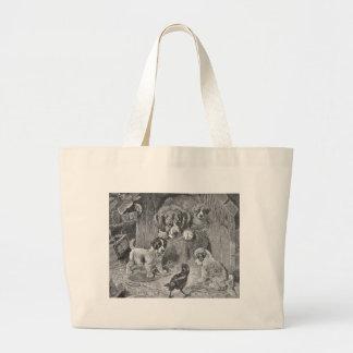 Saint Bernard Dogs and Crow Jumbo Tote Bag