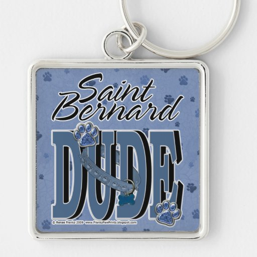 Saint Bernard DUDE Silver-Colored Square Keychain