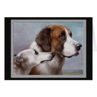 Saint Bernard & Greyhound Vintage dog Art Greeting Card