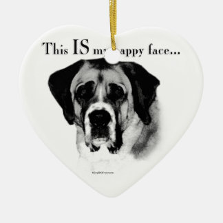 Saint Bernard Happy Face Ceramic Ornament