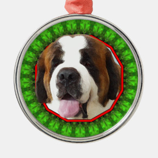 Saint Bernard Happy Howliday Round Metal Christmas Ornament
