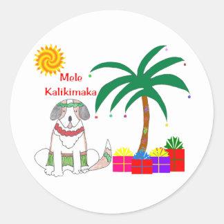 Saint Bernard Hawaiian Christmas Classic Round Sticker