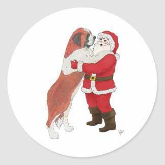 Saint Bernard Jowly Christmas Greeting Stickers
