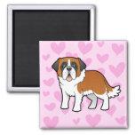 Saint Bernard Love 2 Inch Square Magnet