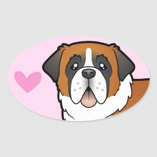 Saint Bernard Love Oval Sticker