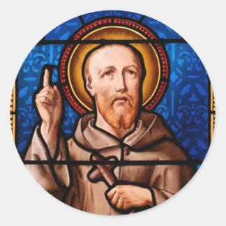 Saint Bernard of Clairvaux Stained Glass Art Classic Round Sticker