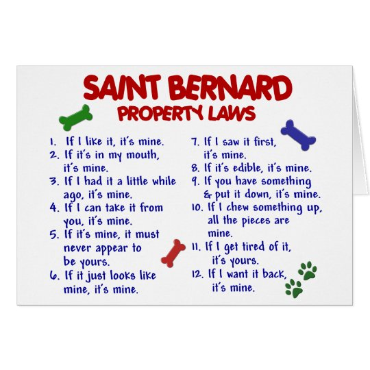 SAINT BERNARD Property Laws 2 Card