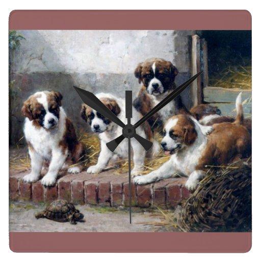 Saint Bernard Puppies and Turtle Square Wallclock