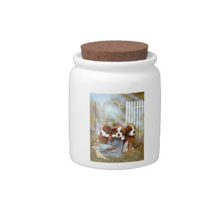 Saint Bernard Puppies Candy Jar