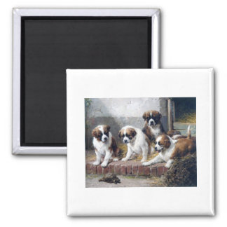 Saint Bernard puppies turtle cute painting dogs 2 Inch Square Magnet