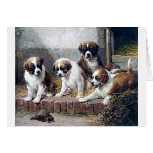 Saint Bernard puppies turtle cute painting dogs Greeting Card