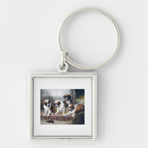 Saint Bernard puppies turtle cute painting dogs Silver-Colored Square Keychain