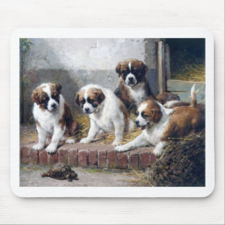 Saint Bernard puppies turtle cute painting dogs Mouse Pad