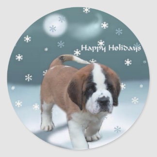 Saint Bernard Puppy Christmas Gifts Classic Round Sticker