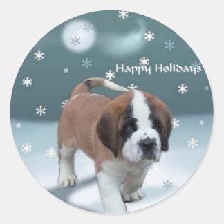 Saint Bernard Puppy Christmas Gifts Sticker