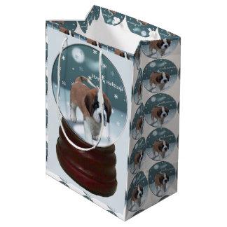 Saint Bernard Puppy Christmas Medium Gift Bag