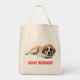 Saint Bernard Puppy Dog Canvas Grocery Totebag Tote Bag