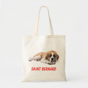 Large Street  With Internal Pockets 100/% Combed Organic Cotton Saint Bernard Tote Bag