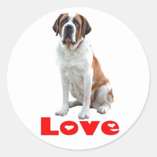 Saint Bernard Puppy Dog Red Love Heart Classic Round Sticker