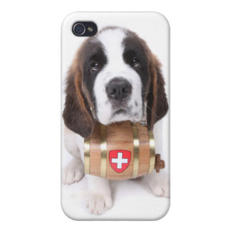Saint Bernard puppy with a rescue barrel Cover For iPhone 4