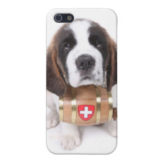 Saint Bernard puppy with a rescue barrel iPhone SE/5/5s Cover