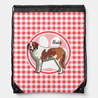 Saint Bernard; Red and White Gingham Backpack