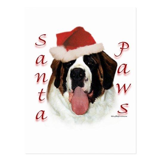 Saint Bernard Santa Paws Postcard