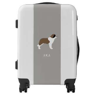 Saint Bernard Silhouette with Custom Text Luggage