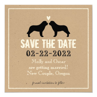 Saint Bernard Silhouettes Wedding Save the Date Card