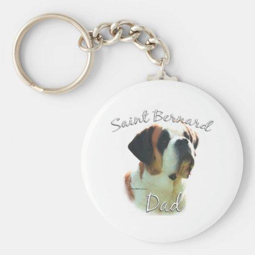 Saint Bernard (smooth) Dad 2 Basic Round Button Keychain