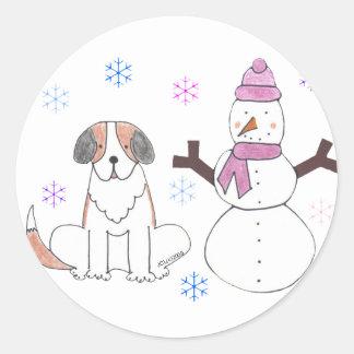 Saint Bernard & Snowman Classic Round Sticker
