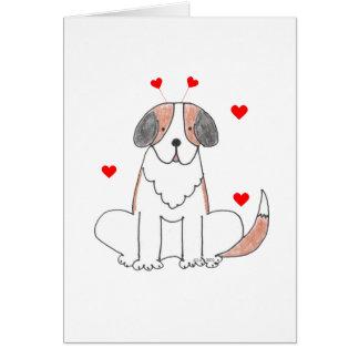 Saint Bernard Valentine Ears Card