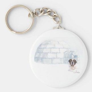 Saint Bernard Winter Igloo Key Chain