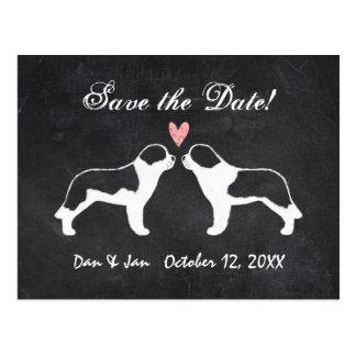 Saint Bernards Chalkboard Wedding Save the Date Postcard