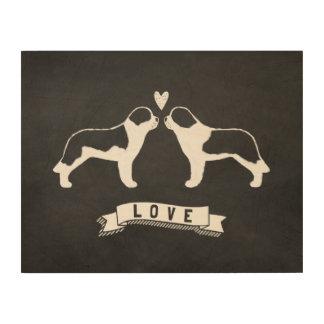 Saint Bernards Love - Dog Silhouettes w/ Heart Wood Wall Decor
