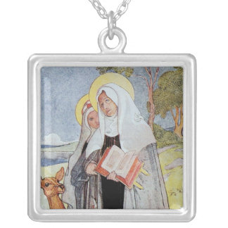 Saint Bridget and Deer Silver Plated Necklace
